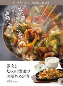 やよい軒豚肉とたっぷり野菜の味噌炒め定食のメニュー