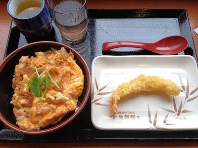 丸亀製麺親子丼と海老の天ぷら