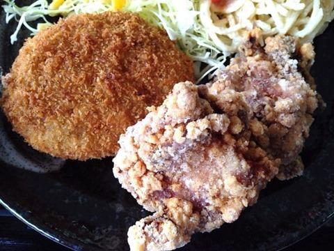 カフェごはんのーちゃん日替り定食肉じゃがコロッケと和風からあげ