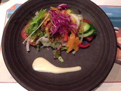活伊勢海老料理中納言萌黄彩り新鮮野菜サラダ