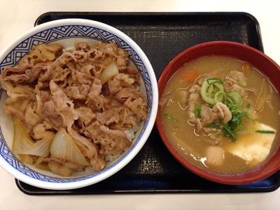 吉野家牛丼(並)と豚汁