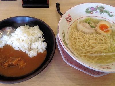 博多金龍沖縄風ラーメンと金龍半カレー