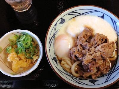 丸亀製麺夜なきうどんの日牛とろ玉うどん