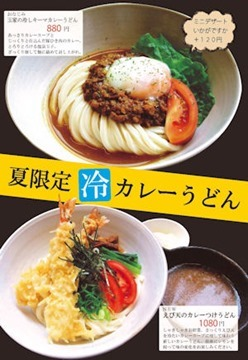 麺茶屋・玉家夏限定冷カレーうどんのメニュー