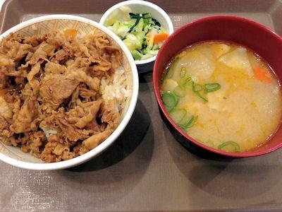 すき家牛丼とん汁おしんこセット