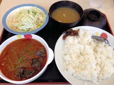 松屋粗挽き肉と茄子の麻婆カレー定食