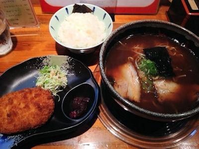 めんくい亭日替り定食京風ラーメン大きなコロッケ