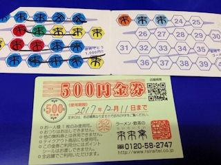 ラーメン来来亭ポイントカード500円金券