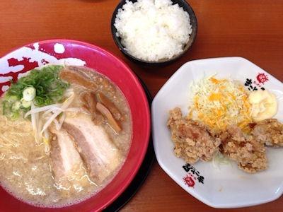 ラーメンまこと屋背脂醤油ラーメン若鶏の半唐揚げ定食