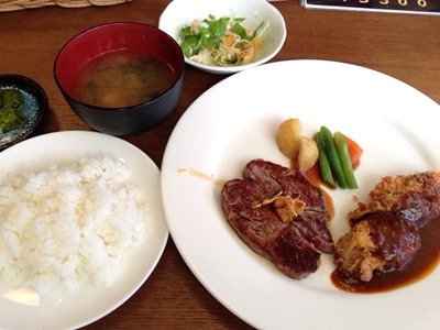 キッチン五斗米ステーキ&ビフカツのダブルランチ
