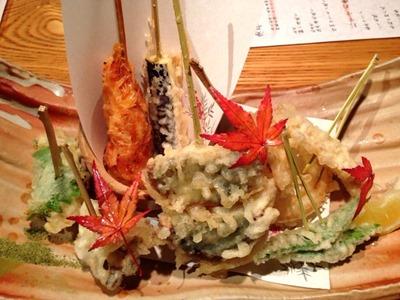 天ぷらと肉寿司燈花天ぷら串五種盛合せ