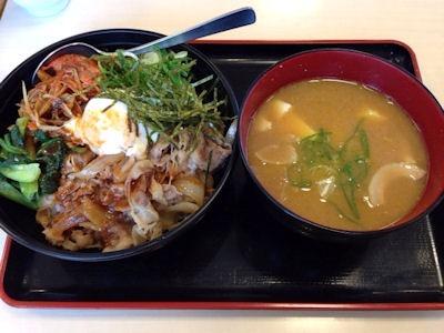 松屋ビビン丼豚汁セット