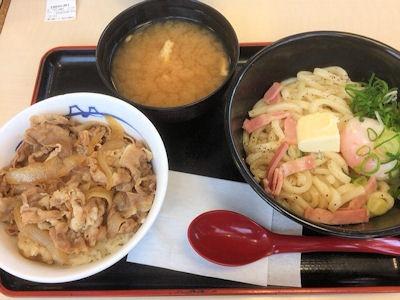 松屋和風カルボナーラうどんとミニ牛めしセット