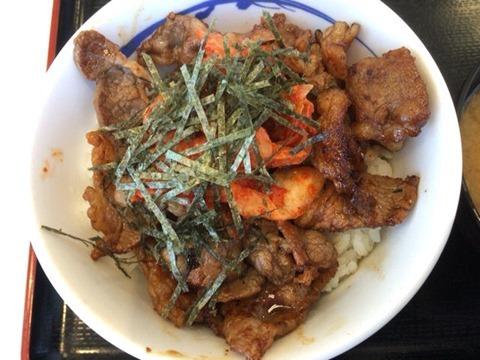 松屋キムカル丼(お肉増量)並盛
