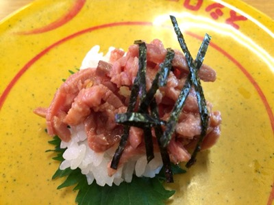 スシローにく寿司フェア熟成牛赤身肉(ユッケ風)