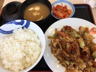 松屋回鍋肉定食キムチ