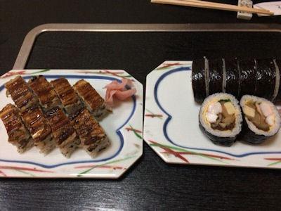 いのもと穴子の箱寿司と上巻き