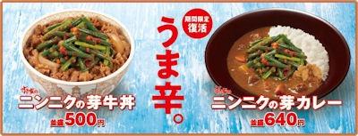 すき家ニンニクの芽牛丼とニンニクの芽カレーのメニュー