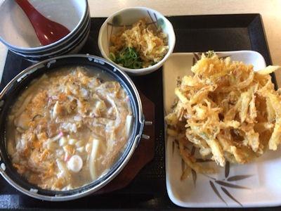 丸亀製麺うどん雑炊と野菜かき揚げ