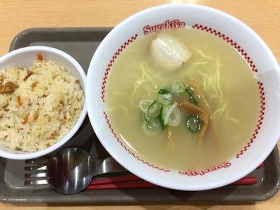 スガキヤ平成最後のスーちゃん祭ラーメンと五目ごはん