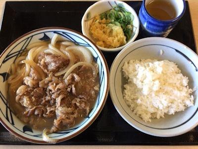 丸亀製麺肉うどん(並)と天丼用白ごはん