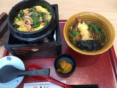 釆なりうどんきらく桜海老の釜飯ランチ