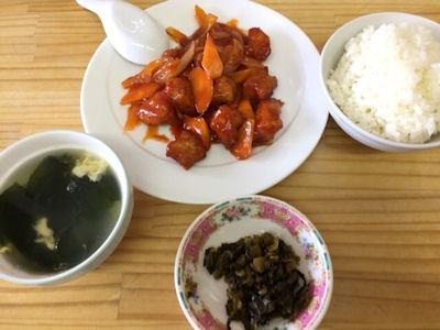 廣東食家酢豚とライス・スープ