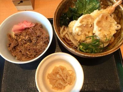 せらび亭日替り定食ミニ牛丼と天ぷらぶっかけうどん