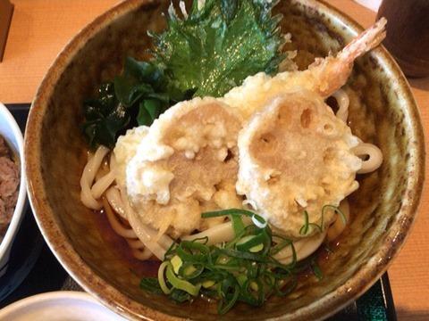 せらび亭日替り定食の冷たい天ぷらぶっかけうどん