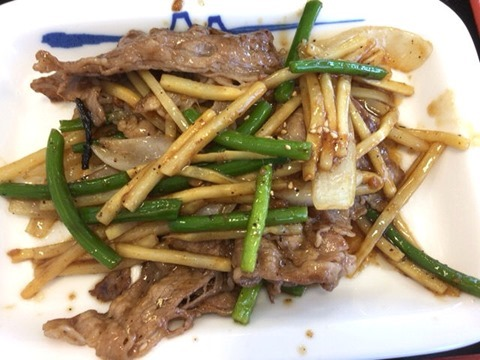 松屋牛肉と筍のオイスター炒め定食