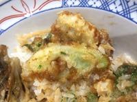 揚げ天まる牡蠣と春菊の味噌だれ天丼